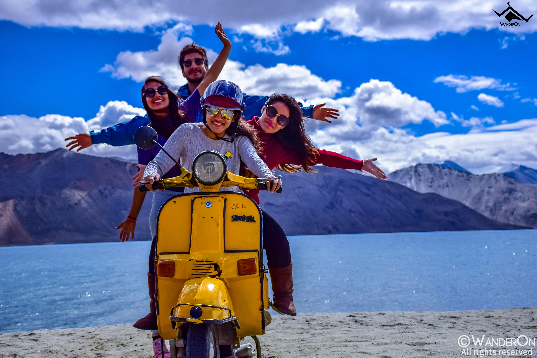The Famous Yellow Scooter Pangong Tso Leh Leh Ladakh Lake