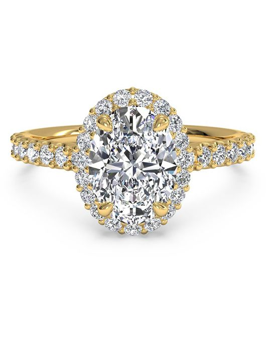 French-Set Halo Diamond Band Engagement Ring - in 18kt Yellow Gold (0.45 CTW) for a Oval Center Stone