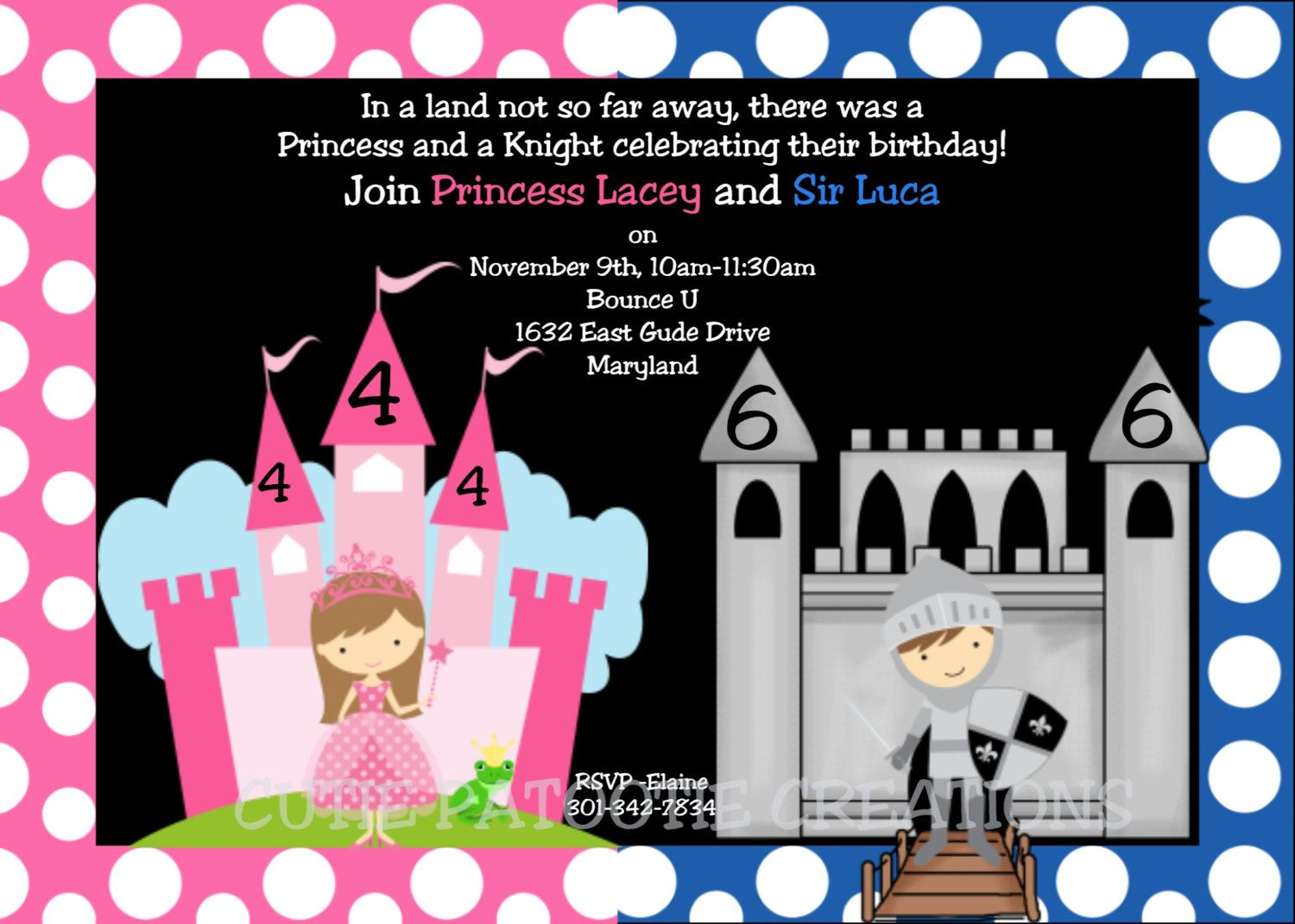 Princess Knight Birthday Invitation - Party for Twins or Siblings ...