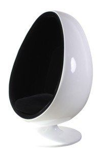 fauteuil design coquille oeuf egg chair blanc/noir qualite ... - Chaise Coquille D Oeuf