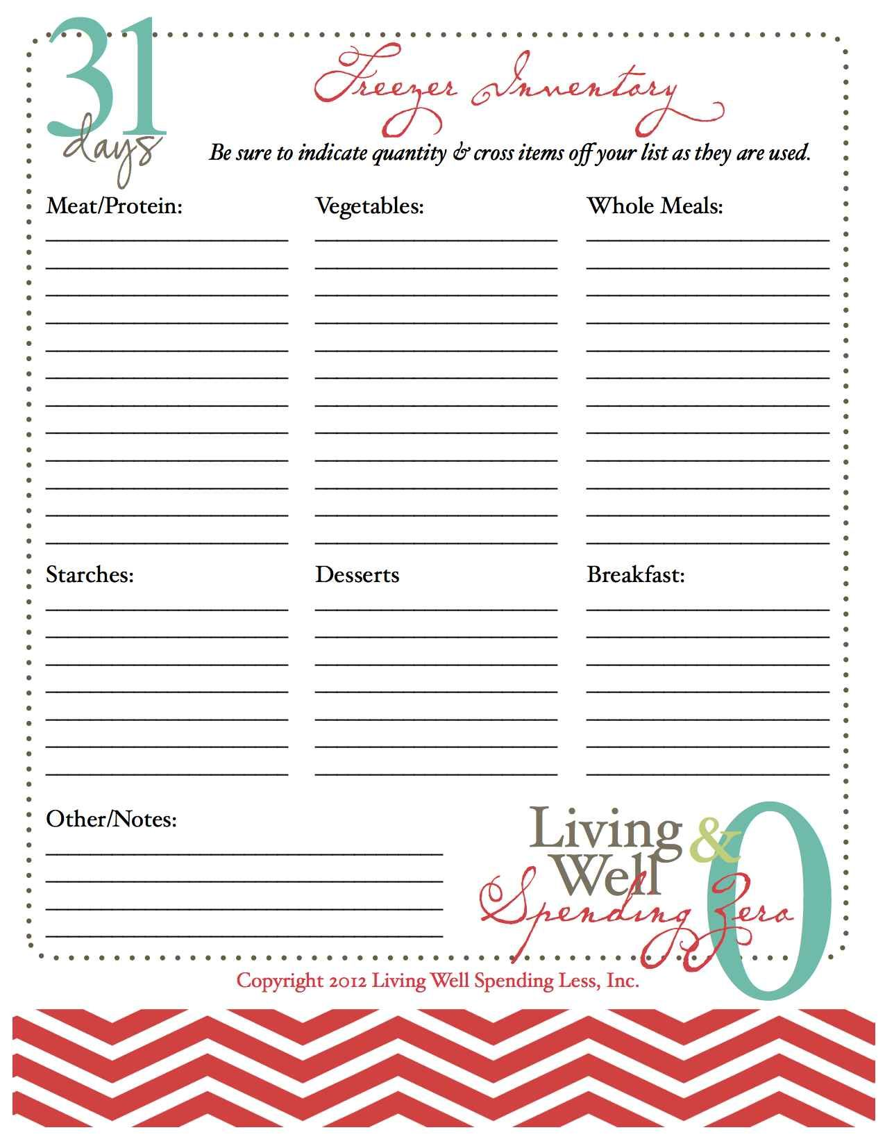 Freezer Inventory Printable Worksheet