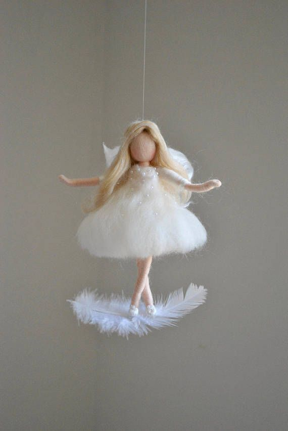 White Fairy Felted Doll Wool Ornament : Fairy on the feather