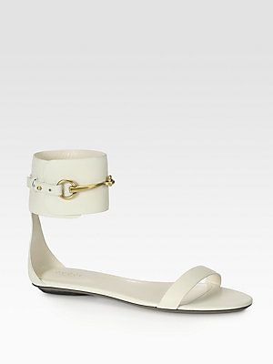 cd83579a77be Gucci Ursula Leather Horsebit Ankle Strap Sandals Gucci Shoes