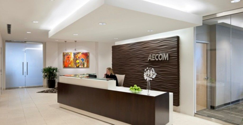 Good office reception area design with chocolate brown for Office photos
