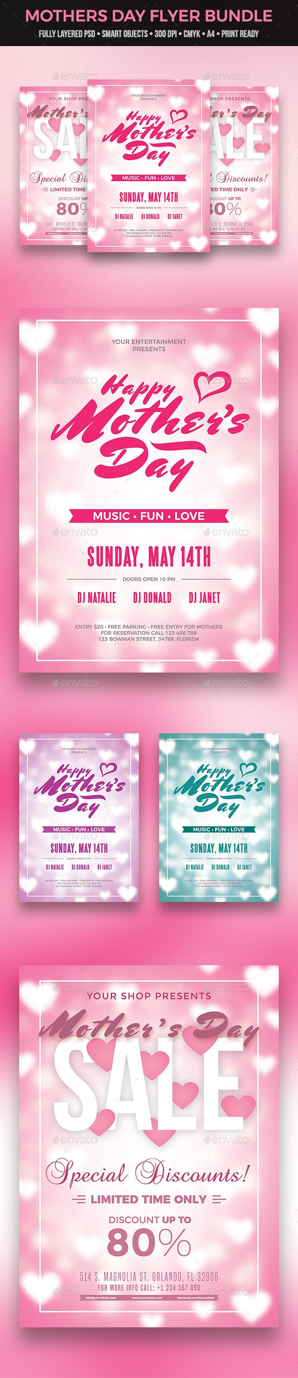 Mothers Day Flyer Bundle  Flyer Template Event Flyers And Fonts