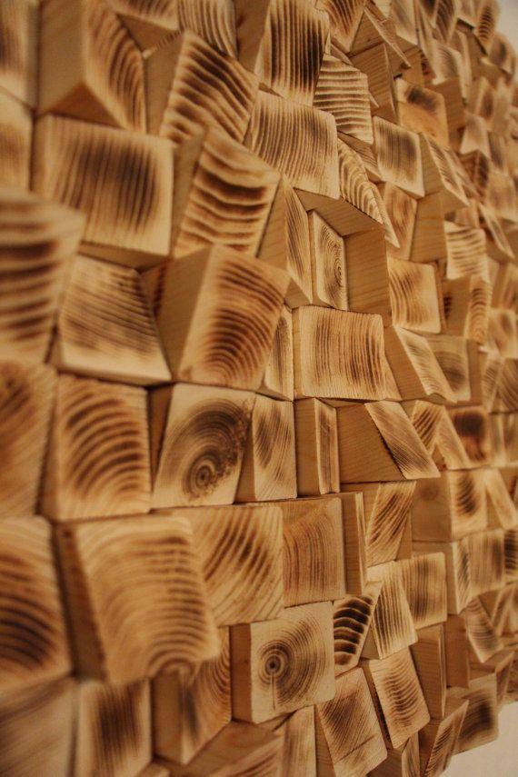 Madera reciclada de la pared arte mosaico de madera arte for Paredes en madera