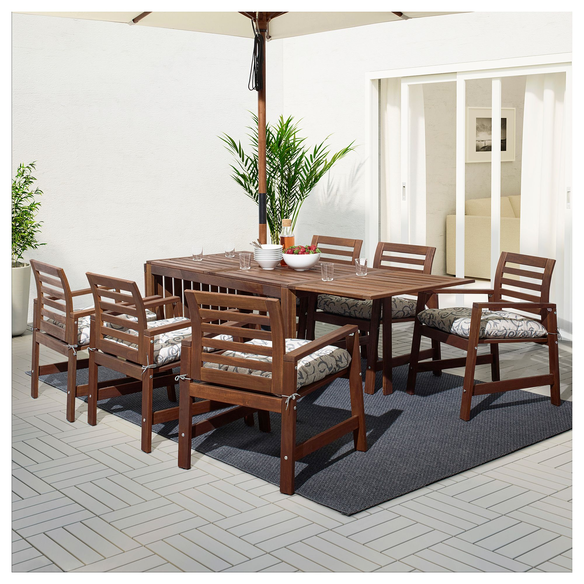 Ikea Laro Brown Stained Table 6 Armchairs Outdoor