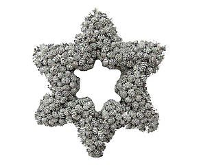 Ghirlanda di Natale in pigne su polistirolo grigio - 35x31x6 cm