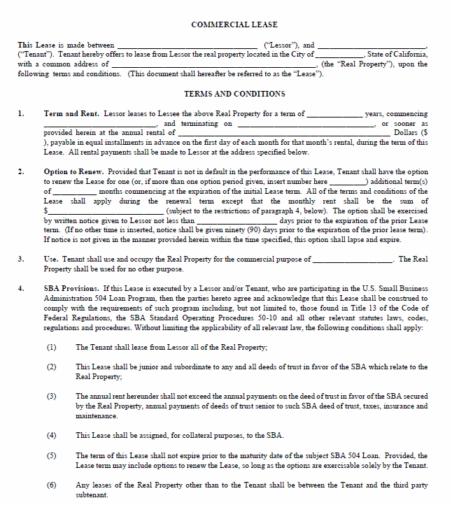 Printable Sample Commercial Lease Agreement Form