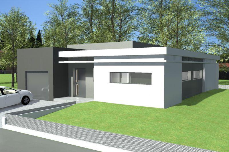 plan maison moderne plain pied toit plat