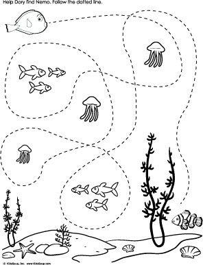 Help Dory find Nemo Tracing worksheet preschool | sea life nursery ...