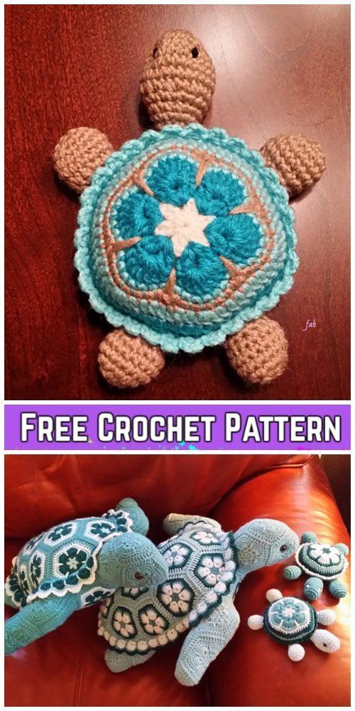 Crochet African Flower Turtle Free Crochet Patterns #crochetanimals