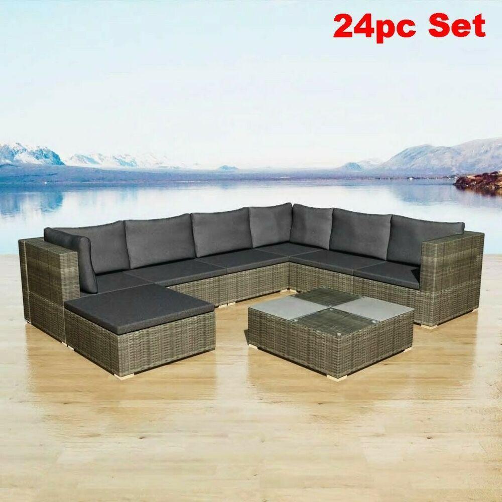 Incredible Rattan Garden Sofa Set Grey Corner Seat Outdoor Sectional Machost Co Dining Chair Design Ideas Machostcouk