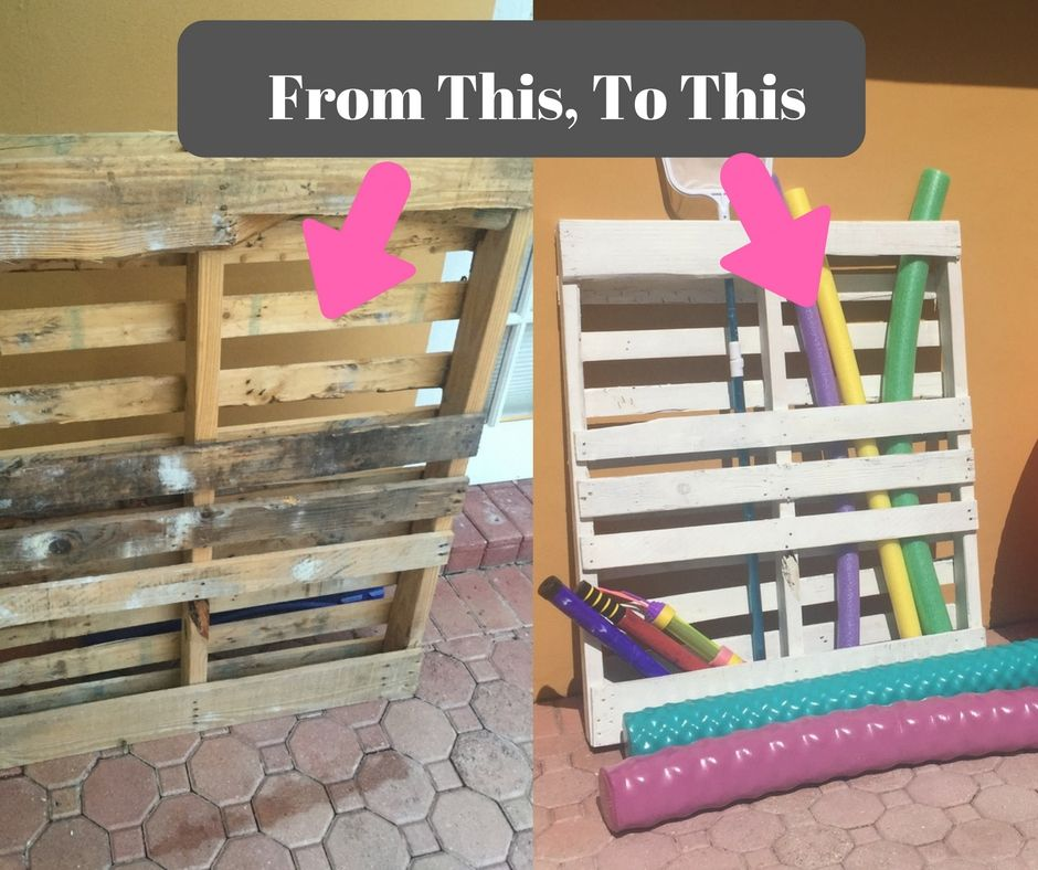 Pool Toy Storage Diy: DIY Pallet Board Pool Toy Storage