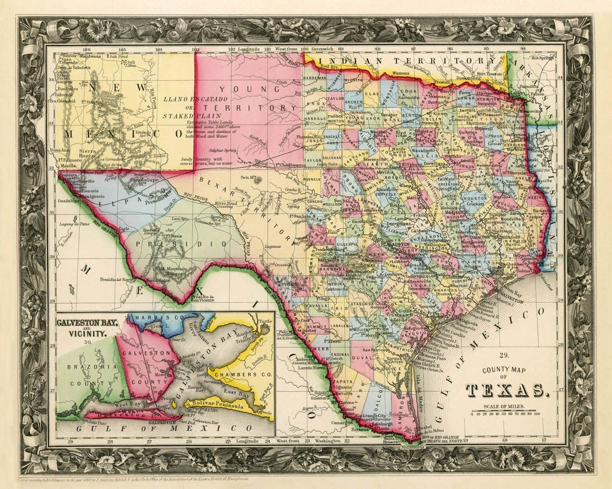 Texas Map Vintage Map Of Texas Fine Print On Paper Or Canvas Etsy Texas Map County Map Map