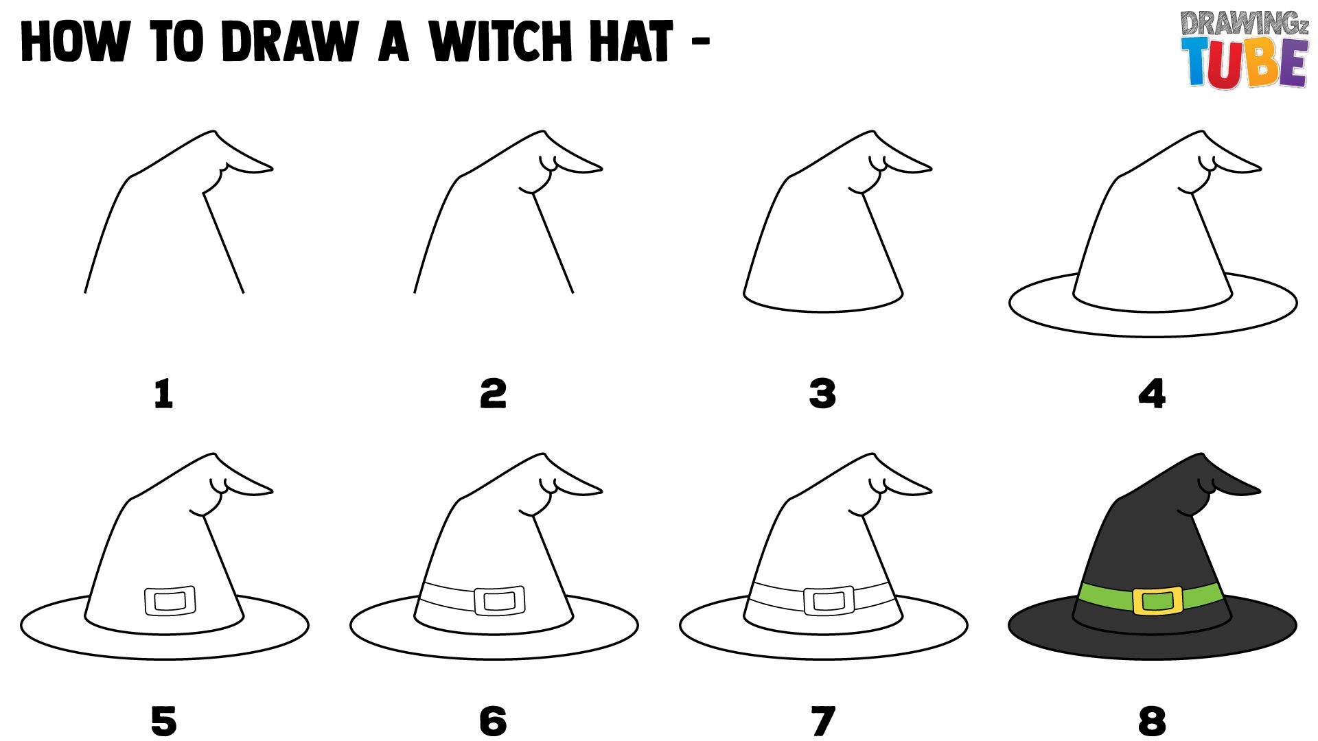 How To Draw A Witch Hat For Kids Draw A Witch How To Draw A Witch How To Draw A Witch Hat