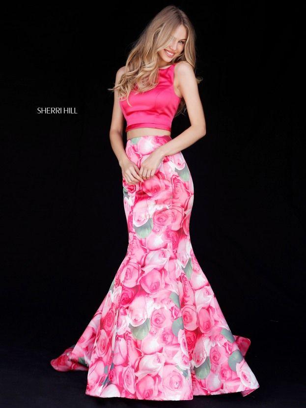 Sherri Hill 51848 Pink Floral Print 2 Piece Fitted Mermaid Ypsilon ...