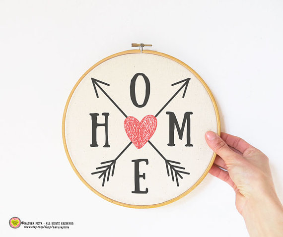 Arrows home quote Embroidery Hoop Art-hand printed by naturapicta