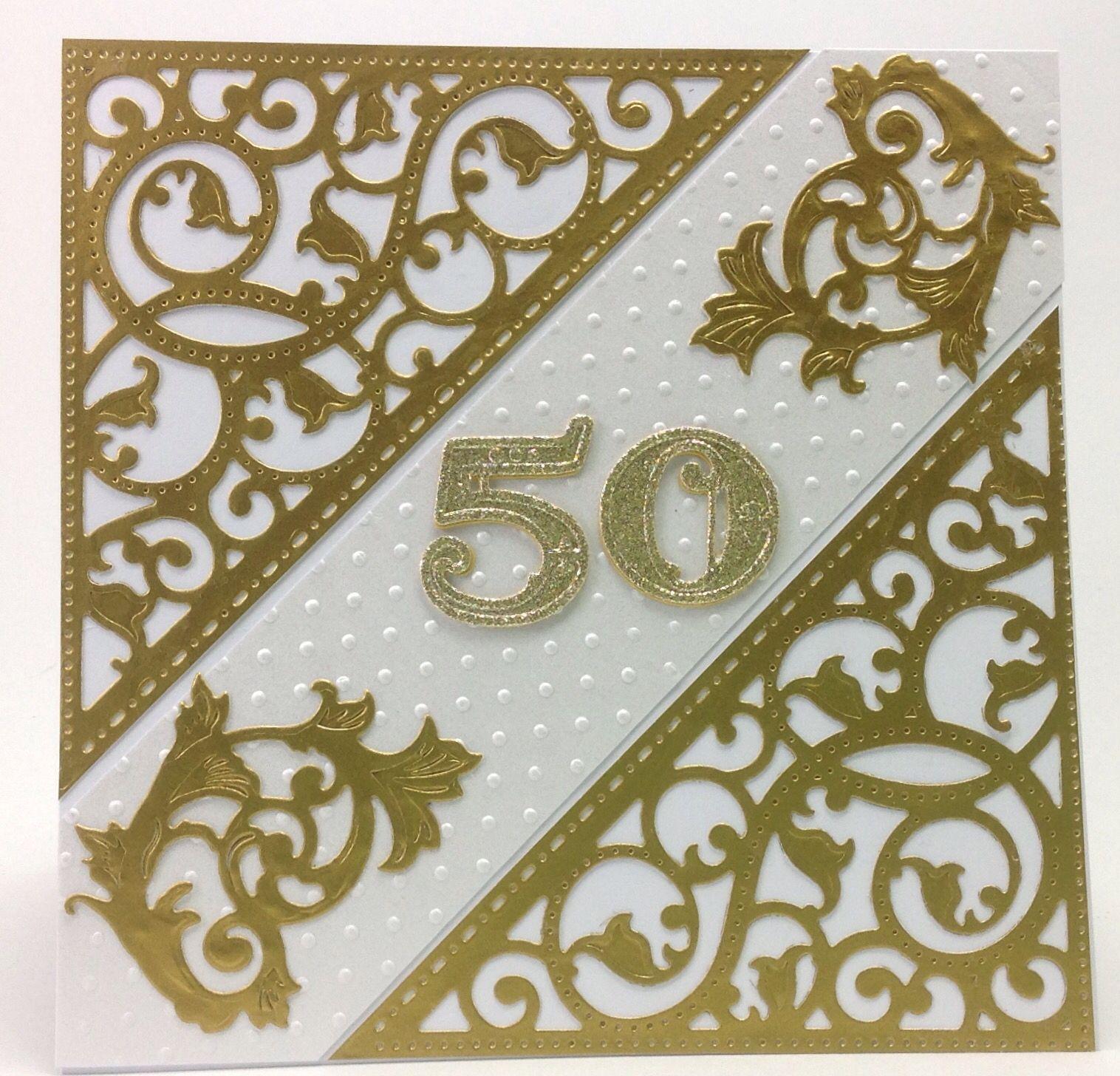 jubilee card 50th anniversary gold elements spellbinders
