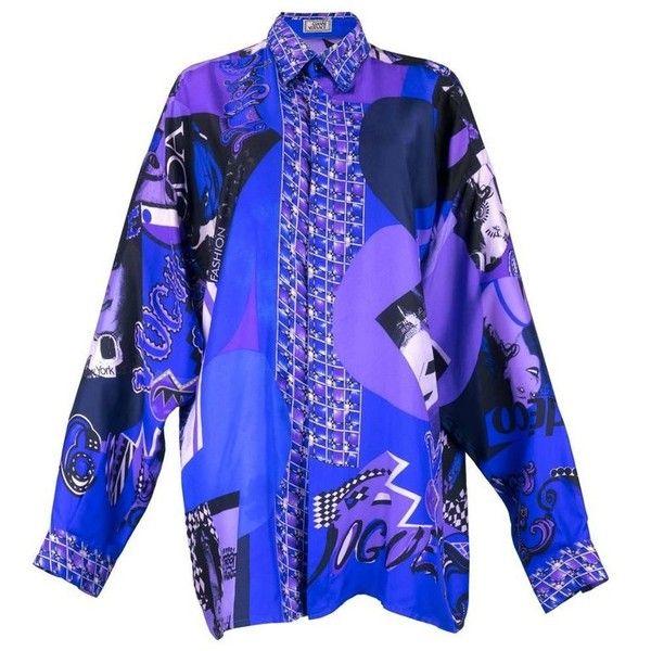 fe8b5374073b Chemises Graphiques · Haut De Soie · Gravures De Mode · Preowned 80s  Lifetime Gianni Versace Silk Fashion Print Oversized... ( 1,500) ❤