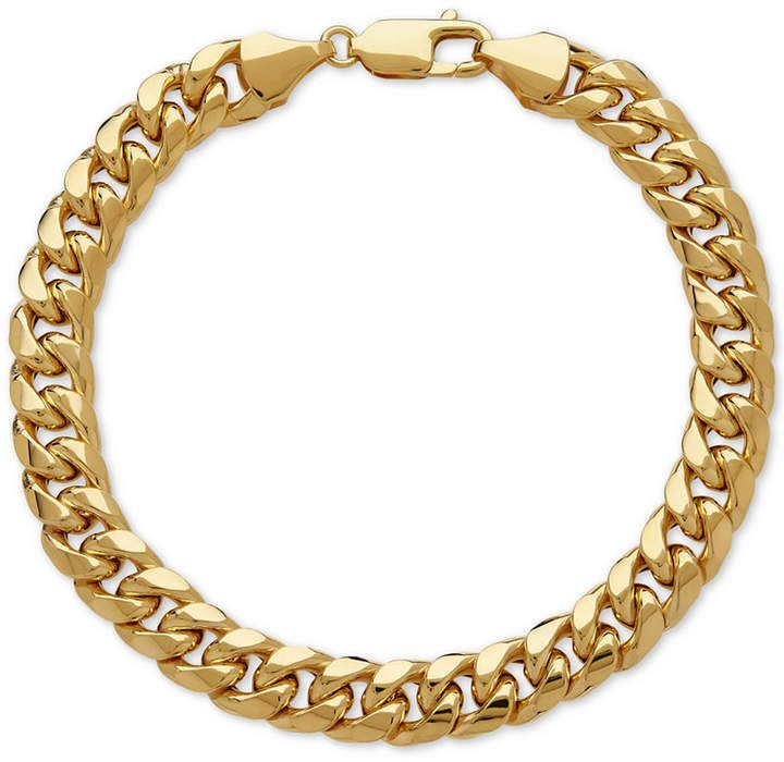 Italian Gold Men S Cuban Link Bracelet In 10k Gold Reviews Bracelets Jewelry Watches Macy S In 2020 Bracelets For Men Link Bracelets Mens Gold Bracelets