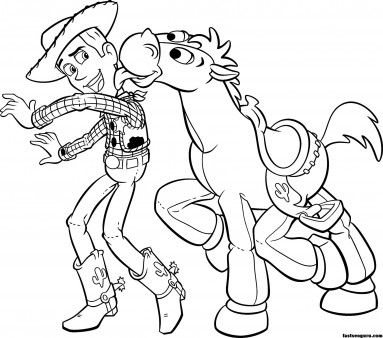 Printable Toy Story 3 Woody Bullseye Coloring Pages Printable