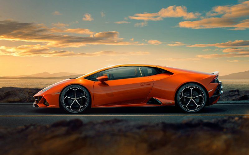 Wallpaper Orange Sports Car Side View Lamborghini Huracan