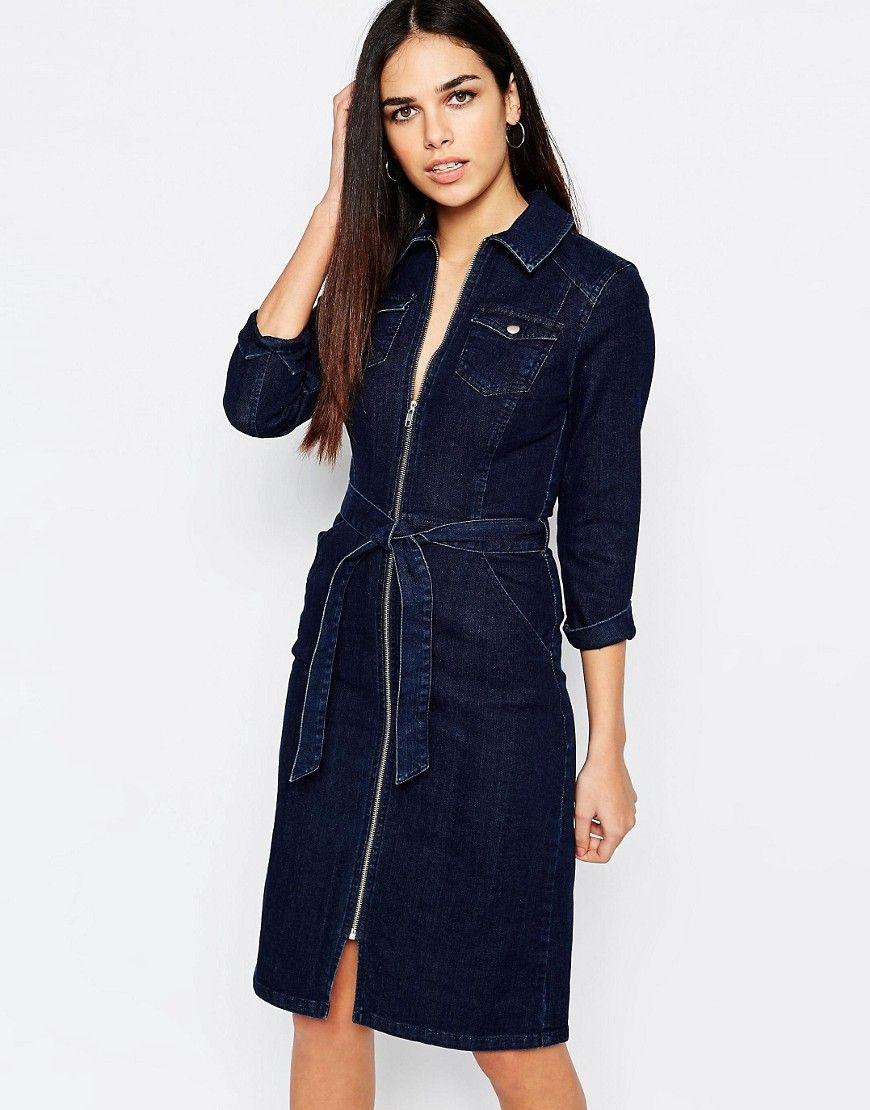 Warehouse Denim Zip Through Belted Midi Dress at asos.com | Denim ...