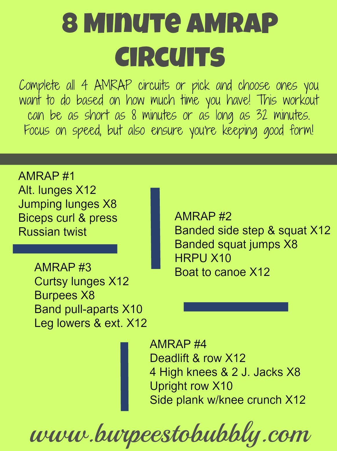 Wednesday Workout: 8 Minute AMRAP Circuits (Burpees to ...