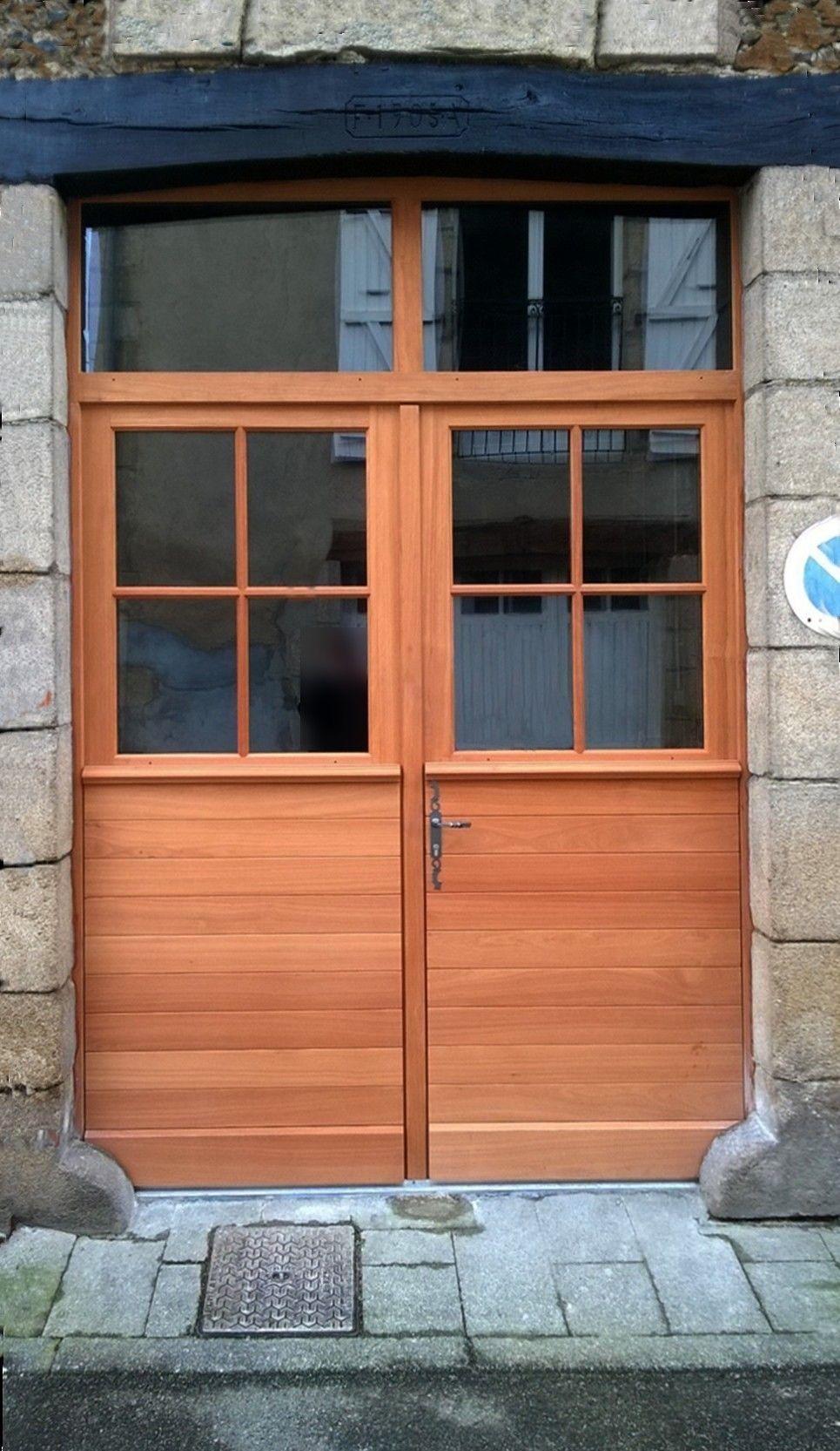 Porte d 39 entr e avec lames horizontales r guli res partie - Carreau porte vitree ...