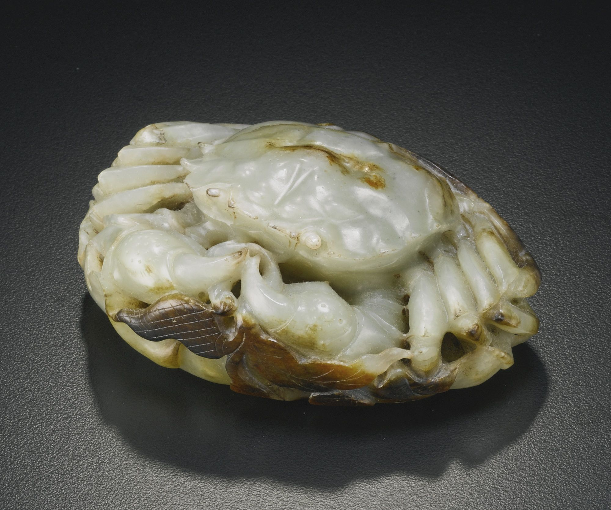 A Celadon Jade Carving Of A Crab Qing Dynasty Sotheby S