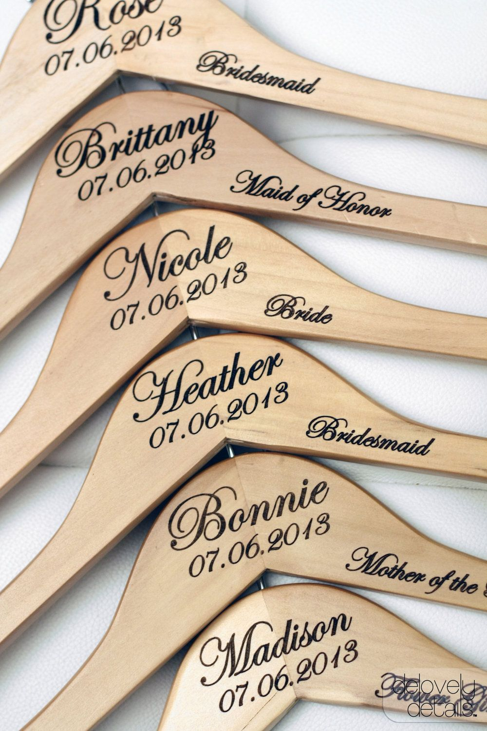 8 - Personalized Wedding Dress Hangers with Wedding Party Title Arm ...