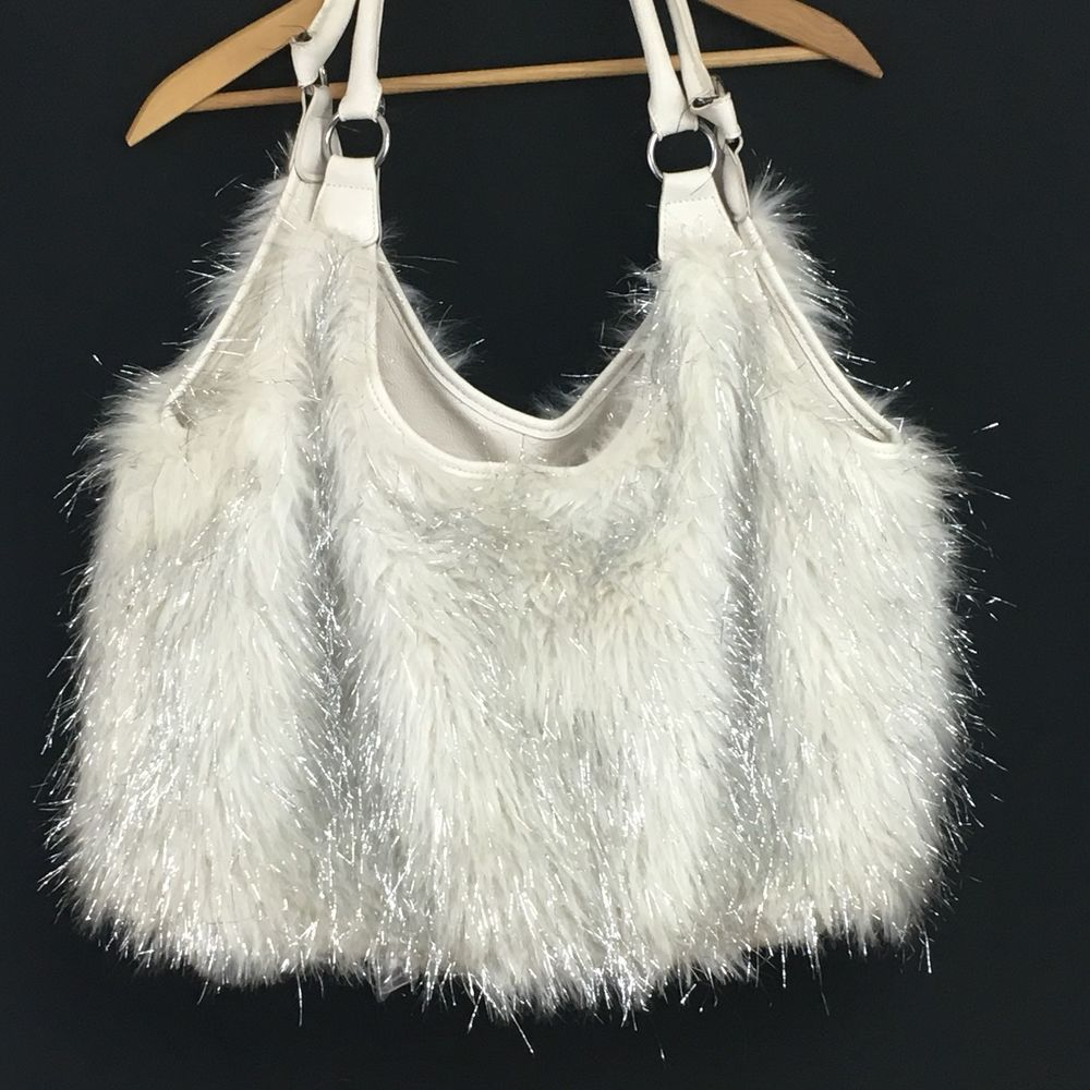 5142ba5293 Joan Boyce Hobo Purse Faux Fur Large White Silver Shoulder Bag ...
