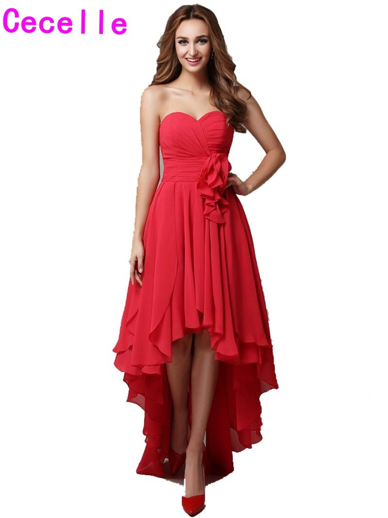 Click to buy 2017 real red high low bridesmaid dresses click to buy 2017 real red high low bridesmaid dresses sweetheart pleats ombrellifo Gallery