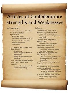 Articles Of Confederation Articles Of Confederation Strengths And Weaknesses Publish With
