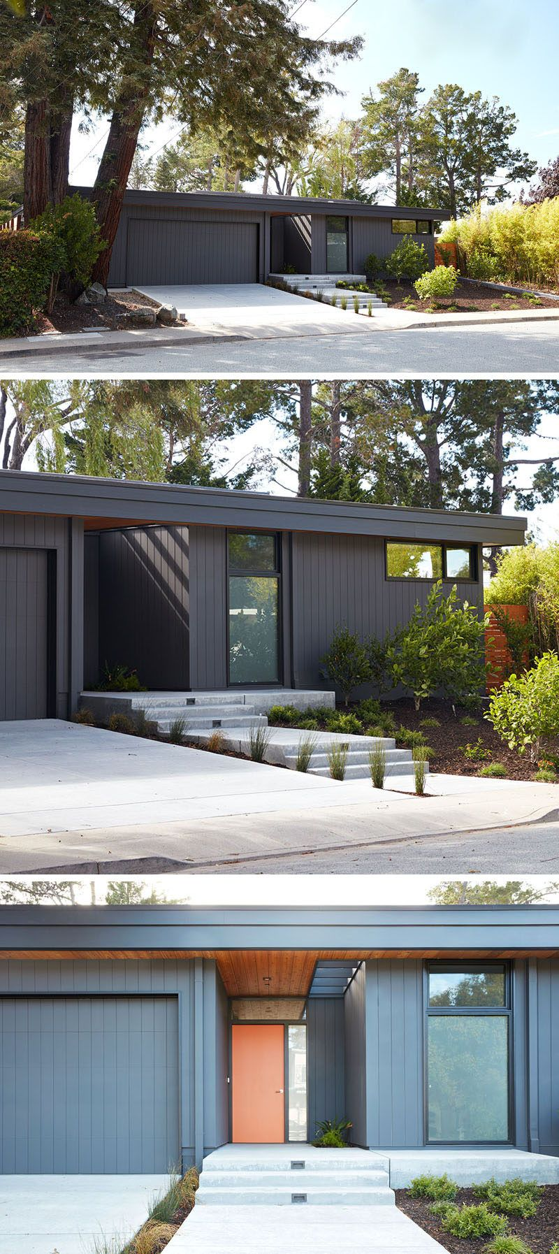 Roof slits by entrance - This new home in San Mateo Highlands, California, has been designed by Klopf Architecture as a replacement house for an original Eichler house that burnt down.