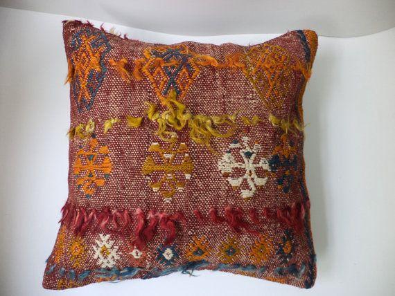 18x18 Inch LARGE SHAGGY Colorful Kilim Kelim Rug Cushions, Angora Wool  Handmade Flokati Pillow Cover