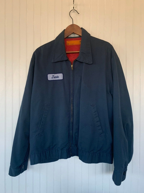 Vintage 90/'s Grunge Bomber Jacket in Navy Blue