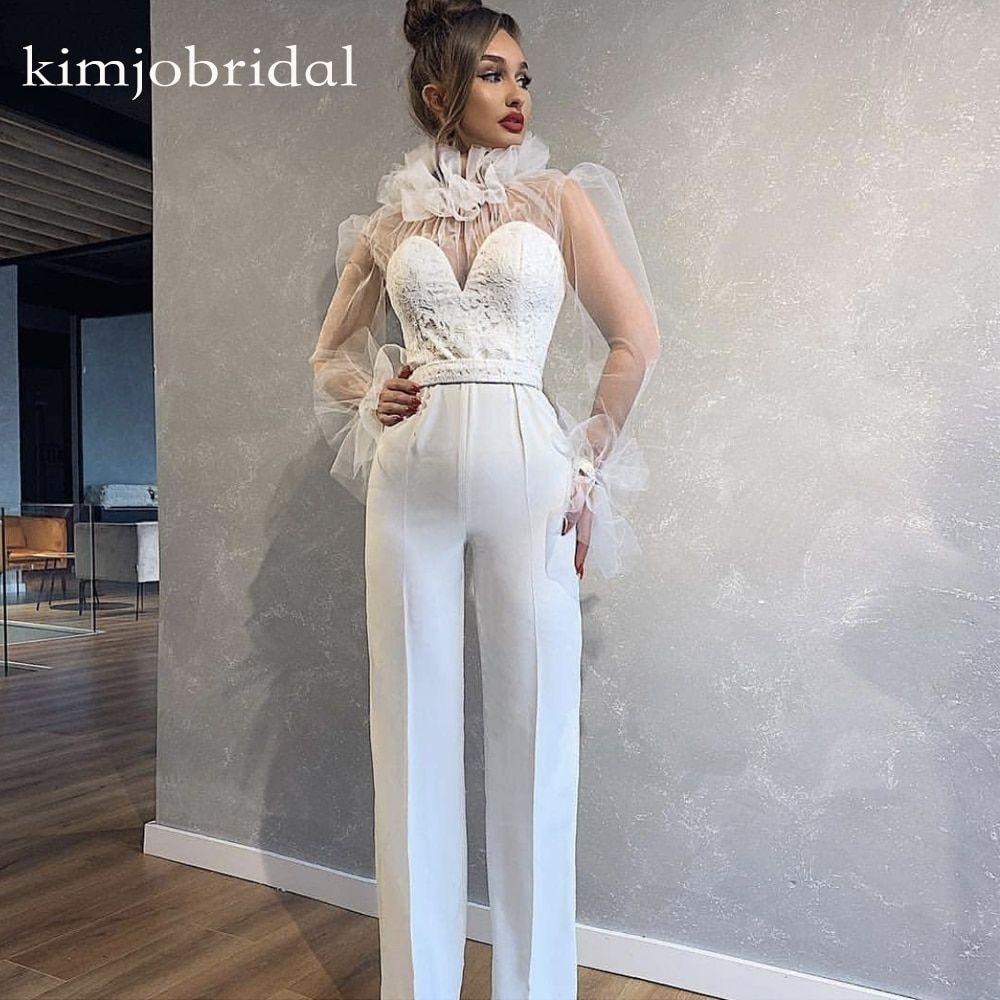 Find More Evening Dresses Information About White Prom Dresses Jumpsuit High Neck Jumpsuit Prom Dress Evening Dresses With Sleeves Long Sleeve Evening Dresses [ 1000 x 1000 Pixel ]