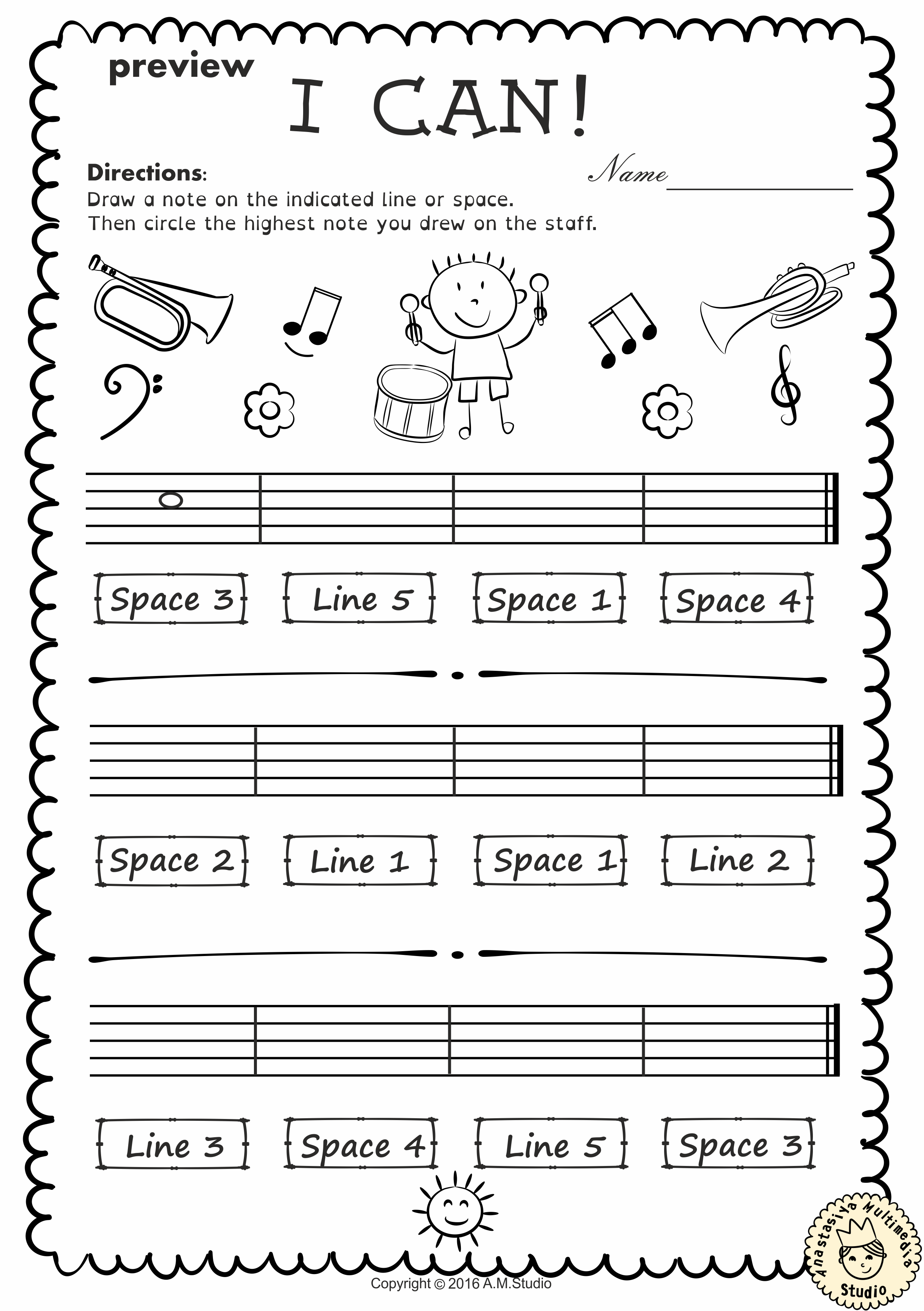Music Worksheets Pack Line Space High Low From