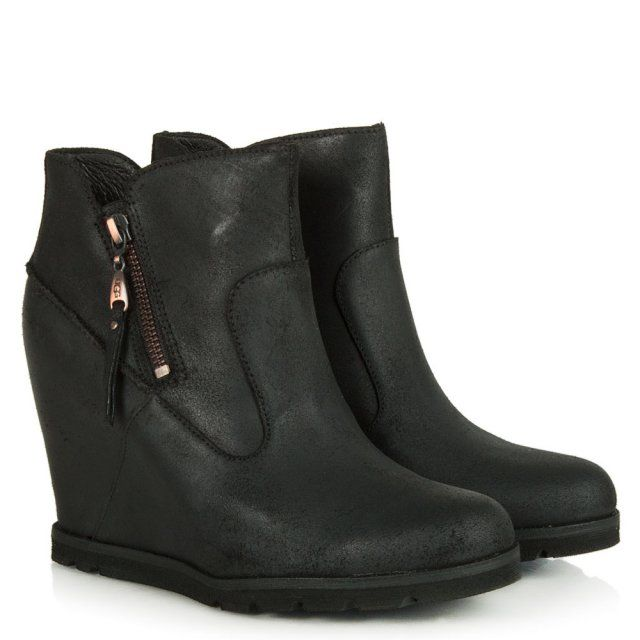 Ugg Australia Myrna Wedge Womens Ankle Boots Black Leather