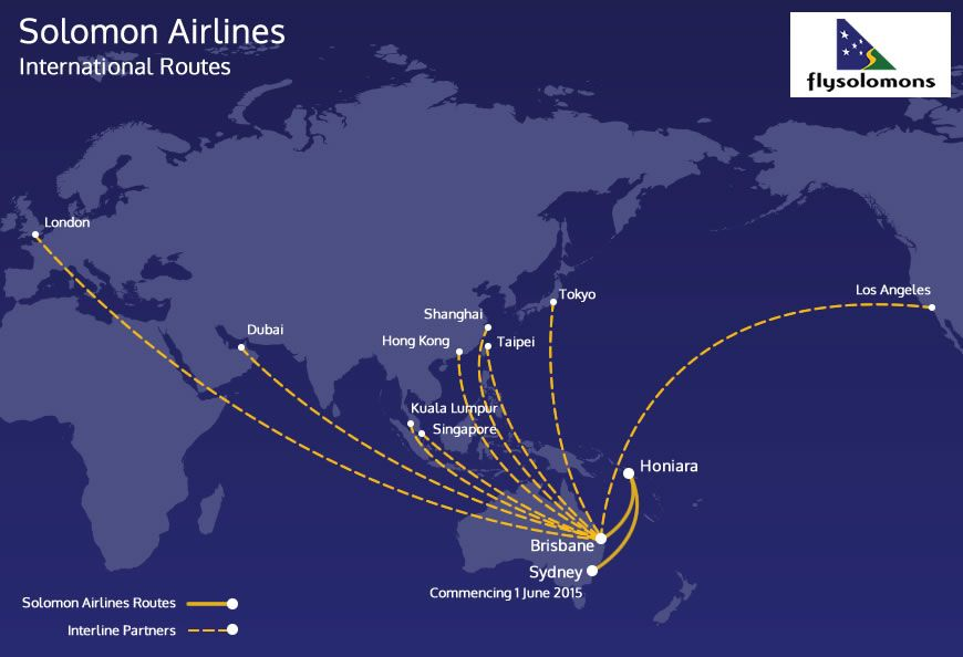 Solomon Airlines international route map | Lesser-Known Airlines ...