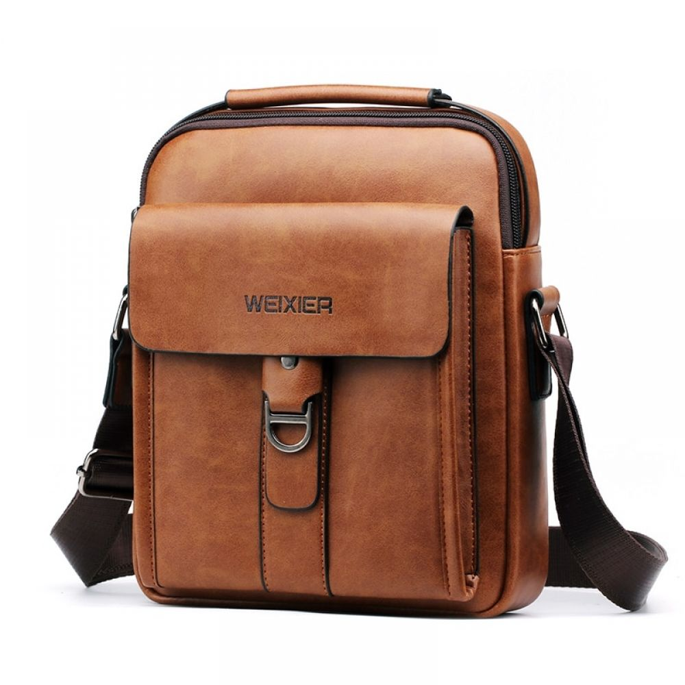 Vintage Canvas Messenger Bags Mens Travel office Briefcase Fashion Pu Leather School Teenagers Shoulder Bag,Black