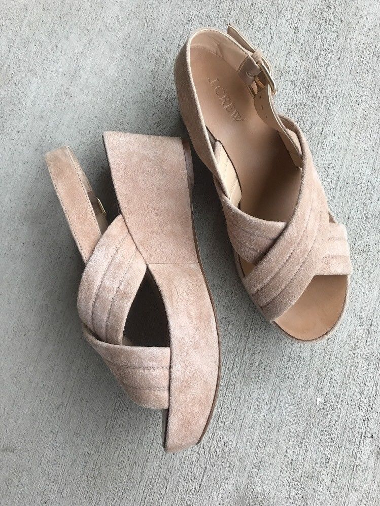 75091fa9209 J.Crew Marcie Suede Tan Sling back Sandals Wedges 7 Portugal Shoes ...