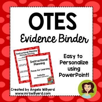 Otes Evidence Binder Ohio Teacher Evaluation System  Teacher