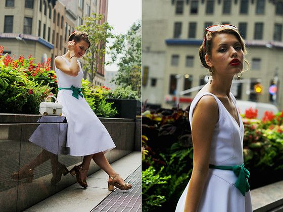 Jasmin F. - Shoes, Dress, Bag, Glasses, Bow Belt - MYBERLINFASHIONxNYCFW   A VINTAGE GIRL IN NEW YORK
