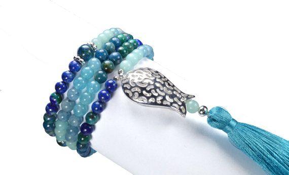 108 Prayer Beads. Gemstone Yoga Mala. Azurite, Amazonite, Aquamarine, Blue Quartz, Apatite and Lapis Lazuli  Mala Necklace and Bracelet.
