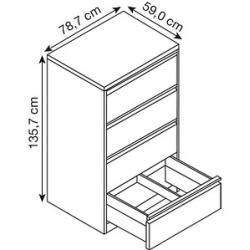 Cp Hängeregistraturschrank weiß/weiß 4 Schubladen Cp