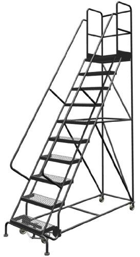 Tri Arc Kdsr110242 D2 10 Step 20 Deep Top Steel Rolling Industrial Warehouse Ladder With Handrails 24 Wide Grip Ladder Industrial Warehouse Rolling Ladder