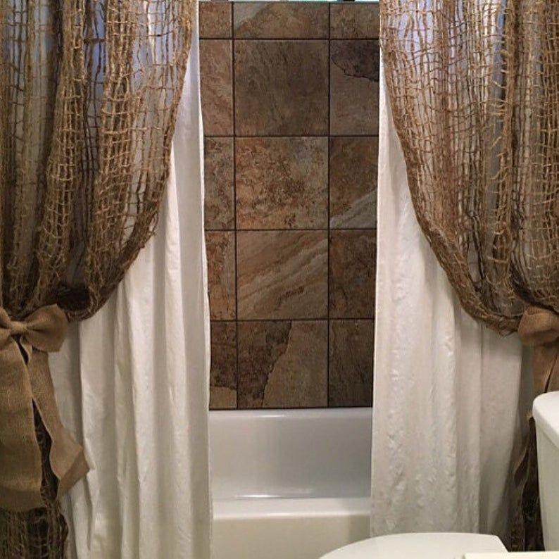 Jute Curtain Panel In 2020 Brown Bathroom Decor Panel Curtains